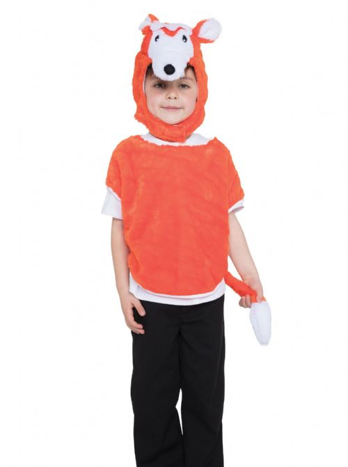 Childs Unisex Fox Tabard Hood & Tail Costume Book Day Animal Fancy Dress Outfit